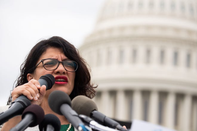 In this file photo taken on May 09, 2019 US Representative Rashida Tlaib, Democrat of Michigan, speaks during a press conference after receiving a computer flash drive from activist at the US Capitol in Washington, DC, May 9, 2019.