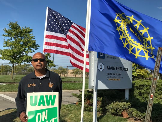 Karlton Byas, a picket line captain for the UAW, was picketing Friday, Sept. 27, 2019 outside General Motors' Hamtramck Assembly Plant during the UAW strike.
