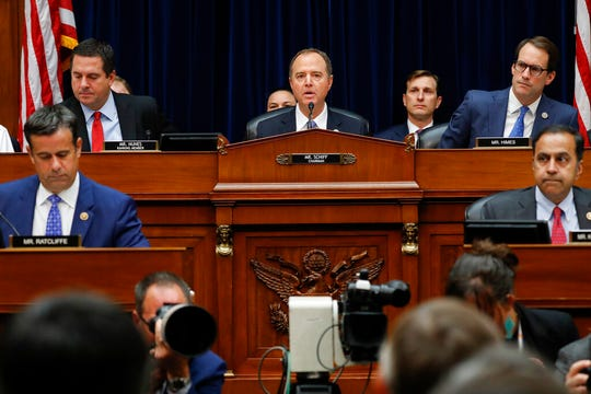 Chairman Rep. Adam Schiff, D-Calif., center, makes opening remarks before Acting Director of National Intelligence Joseph Maguire testimony before the House Intelligence Committee on Capitol Hill in Washington, Thursday, Sept. 26, 2019.