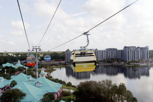 Gondolas move over the Caribbean Beach Resort at Walt Disney World on the Disney Skyliner aerial tram. The Disney Skyliner gondolas opening to visitors on Sunday are the latest addition to one of the largest private transportation systems in the U.S.