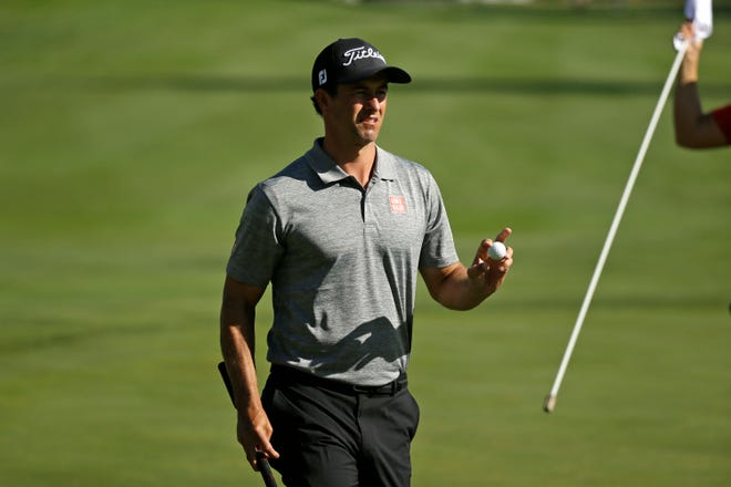 Adam Scott acknowledges the crowd on the 18th green during the first round of the Safeway Open on Thursday.