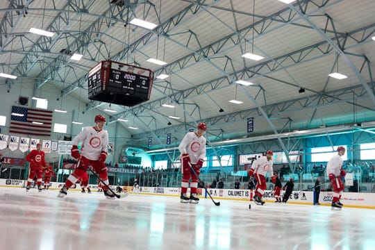 The Detroit Red Wings skate during an afternoon practice Thursday at the Calumet Colosseum.