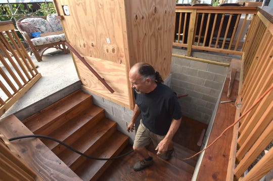 Detroit Abloom Director / CEO Tom Milano leaves the specially-designed root cellar to continue more work.