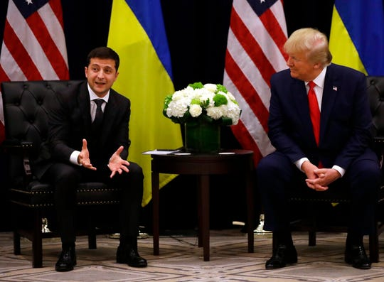 Ukrainian President Volodymyr Zelenskiy meets with President Donald Trump during the United Nations General Assembly, Wednesday, Sept. 25, 2019, in New York.