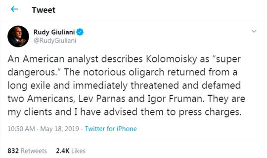 This is a screen shot from the Twitter account of Rudy Giuliani, posted on May 18, 2019.