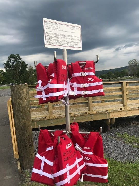 A free life jacket loaner tree was established at the new kayak and canoe launch near Clute Park in Watkins Glen by the Finger Lakes Chapter of America's Boating Club.