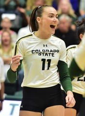 Colorado State volleyball player Paulina Hougaard-Jensen celebrates after scoring a point in a three-set sweep of New Mexico on Thursday, Sept. 26, 2019, at Moby Arena.