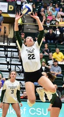Colorado State volleyball setter Katie Oleskak, shown during a Sept. 26, 2019, win over New Mexico, had 40 assists, 10 digs and seven blocks for the Rams on Saturday in a four-set win at Air Force.