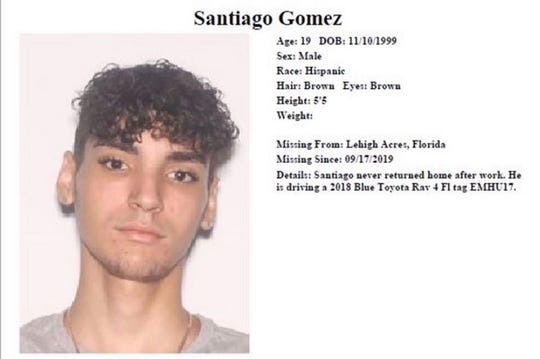 Santiago Gomez was reported missing on September 17. His car was found submerged in a lake of Forum Blvd six days later.