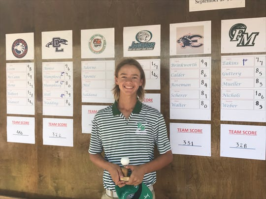 Fort Myers sophomore Logan Eakins parred the second playoff hole to earn medalist honors at the LCAC Championship Friday at Lexington Country Club. Eakins shot a 77 to help the Green Wave finish second as a team.