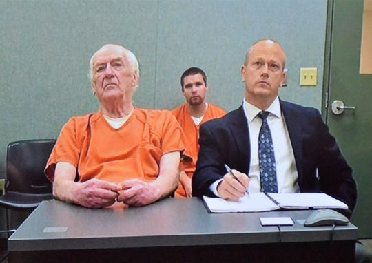 Raymand Vannieuwenhoven, left, charged in 1976 murders of a Green Bay couple in Marinette County, appeared via video at a status conference Sept. 27 in Marinette County Circuit Court. At right his one of his defense attorneys, Travis Crowell.