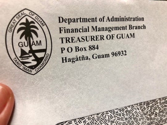 A Guam Department of Administration envelope for a 2018 tax refund is photographed on Sept. 27, 2019.