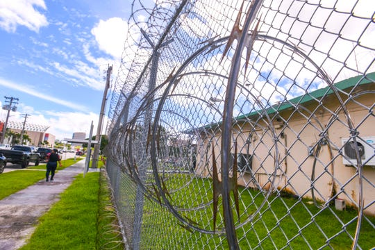 Coils of razor wire, surrounding the Department of Corrections' Hagåtña Detention Facility, act as a deterrent for both intruders and escapees on Friday, Sept. 27, 2019.