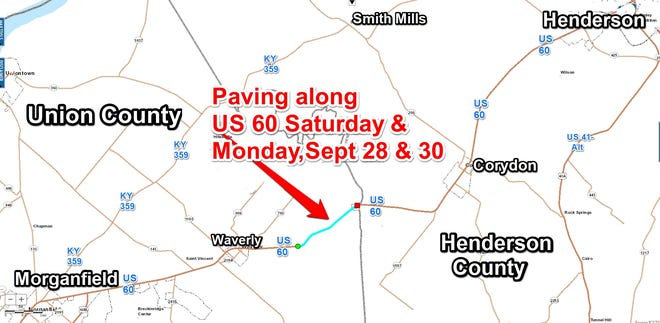 A map of the work area between Henderson and Union counties.