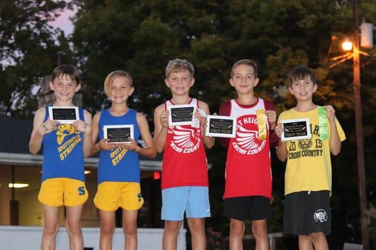 First team all-county elementary boys cross country runners are, from left, Jordan Haynes, Spottsville; Jackson Monroe, Spottsville; Warren Grove, East Heights; Ian Donetta, East Heights; Ross Plummer, Niagara.