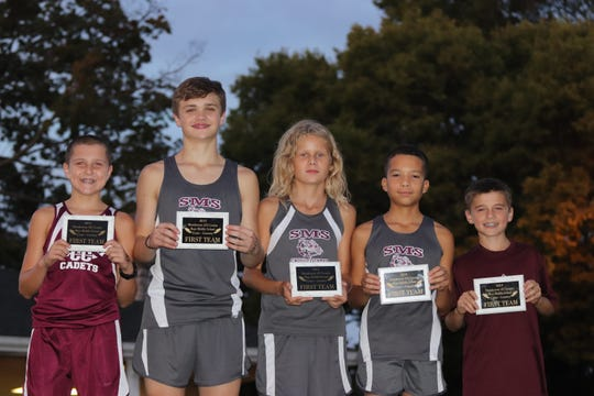 The first team boys middle school all-county cross country runners were Sonny Shelton, North; Rex Blue, South; Isaac Krampe, South; Mark Thomas, South; Creek Tompkins, South.