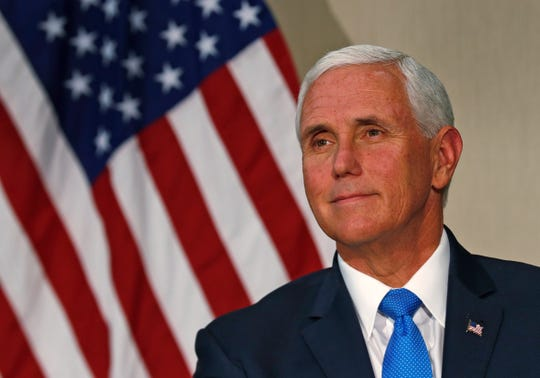 Vice President Mike Pence smiles during a panel discussion at the NeuroDiagnostic Institute and Advanced Treatment Center, Friday, Sept. 27, 2019.  The Vice President had a tour and met with others for a round table discussion.