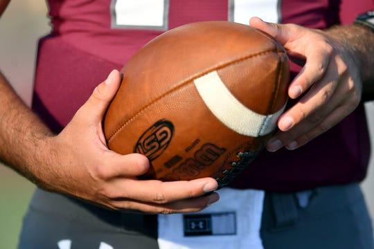 Alcoa quarterback Sam Vaulton (14) before the start of the game against Maryville on Thursday, September 12, 2019.
