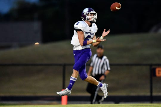 Sevier County's Brayden Hurst (6) makes a catch and touchdown in the football game at William Blount on Thursday, September 26, 2019.