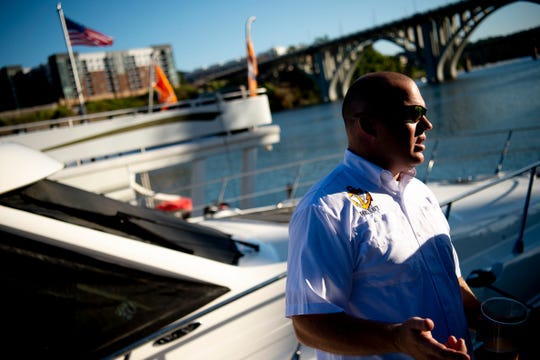 Justin Wilson, who runs www.volnavy.com, talks about the his love for being part of the Vol Navy while docked at Volunteer Landing ahead of the Tennessee season opener game against Georgia State in Knoxville, Tennessee on Friday, August 30, 2019.