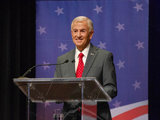 Louisiana gubernatorial candidate Eddie Rispone speaks at the gubernatorial debate hosted by Louisiana Public Broadcasting and the Council for a Better Louisiana on the University of Louisiana at Lafayette campus Thursday, Sept. 26, 2019.