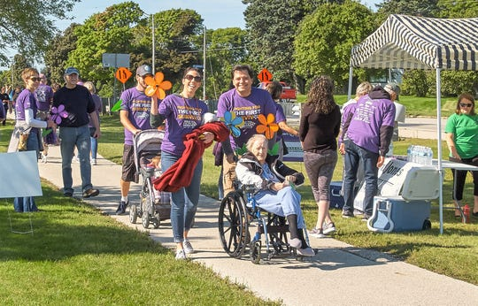 People participate in the Walk to End Alzheimer's in Manitowoc Sept. 14.