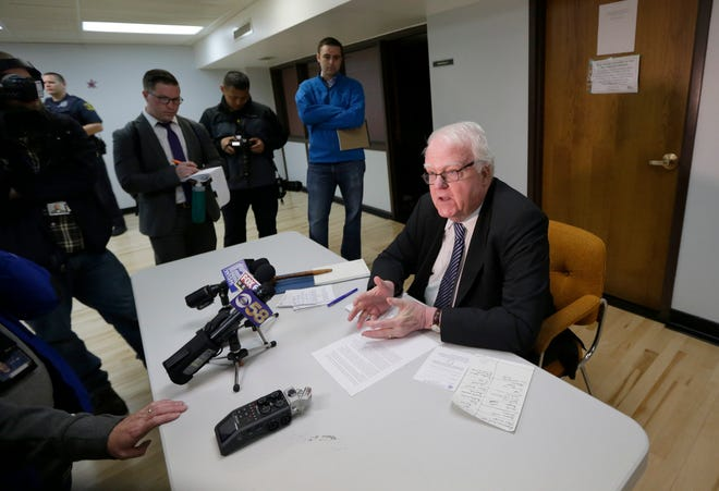Rep. Jim Sensenbrenner talks to the media before a town hall in Hartland Sunday, May 21, 2017.