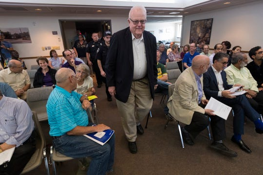 Rep. Jim Sensenbrenner arrives at a constituent listening session Sept. 14, 2019, at the town hall Brookfield. It was his first constituent listening session since announcing he was not going to run for re-election.
