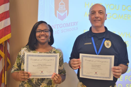 Wares Ferry Road Elementary teacher Cidnee Carter, left, and security guard Jason Goodson are Employees of the Month for Montgomery Public Schools.