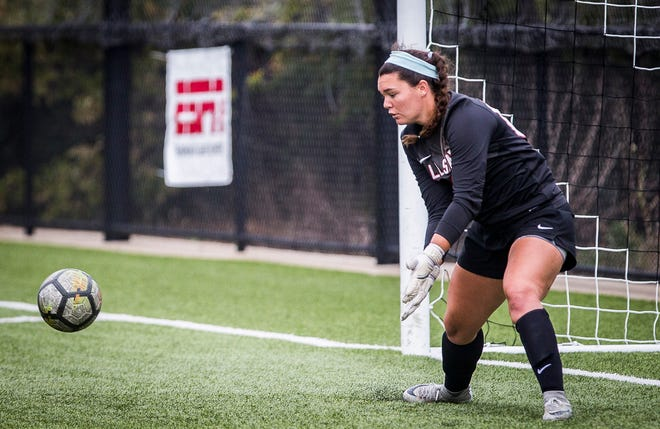 Ball State goalie Tristin Stuteville makes a save against Central Michigan during their game at the Briner Sports Complex Friday, Sept. 27, 2019.