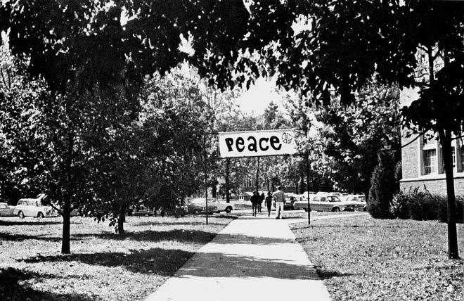 A peace banner is shown by the the library at Ball State University in this historic photo from the last page of the 1970 Orient.