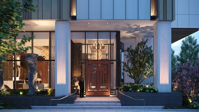 An architectural rendering of the entrance to Four Seasons Nashville Private Residences. The 5-star hotel will have a separate entrance when the 40-story tower opens in late 2022 or 2023.