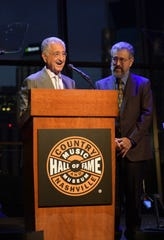 Del Bryant and Dane Bryant speak onstage during the grand opening of We Could: The Songwriting Artistry of Boudleaux and Felice Bryant at Country Music Hall of Fame and Museum on September 26, 2019 in Nashville, Tennessee.