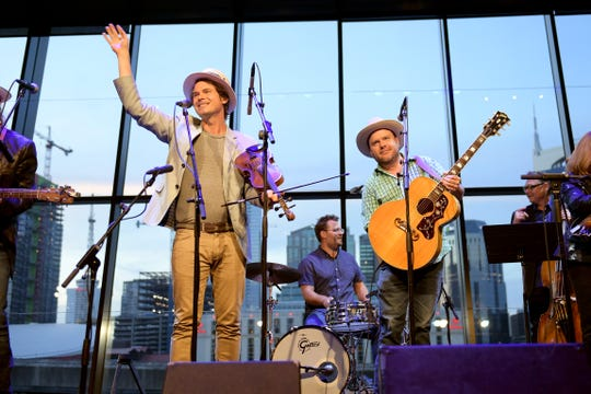 Ketch Secor and Critter Fuqua  of Old Crow Medicine Show perform onstage during the grand opening of We Could: The Songwriting Artistry of Boudleaux and Felice Bryant at Country Music Hall of Fame and Museum on September 26, 2019 in Nashville, Tennessee.
