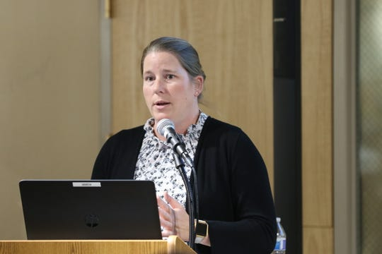 New Mexico Environment Department Air Quality Bureau Chief Elizabeth Kuehn discusses ozone regulations, Sept. 26, 2019 at the Carlsbad Museum and Arts Center.