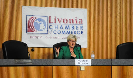 Maureen Miller Brosnan speaks during the Livonia Chamber of Commerce mayoral forum.