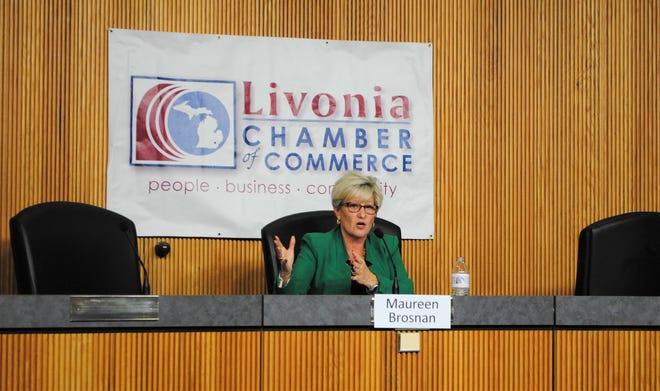 Maureen Miller Brosnan speaks during the Livonia Chamber of Commerce mayoral forum.