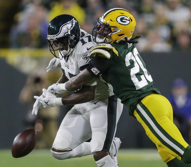 Green Bay Packers cornerback Kevin King (20) breaks up a pass intended for Philadelphia Eagles wide receiver Alshon Jeffery (17) during their football game Thursday, September 26, 2019, at Lambeau Field in Green Bay, Wis.