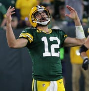 Packers quarterback Aaron Rodgers reacts after throwing an interception in the end zone during the waning moments of a 34-27 loss to the Philadelphia Eagles on Sept. 26, 2019 at Lambeau Field.