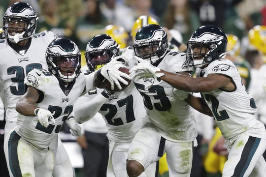 Philadelphia Eagles outside linebacker Nigel Bradham (53) reacts with teammates after intercepting the ball against the Green Bay Packers to end of the game Thursday, September 26, 2019, at Lambeau Field in Green Bay, Wis. The Eagles defeated the Packers 34-27.