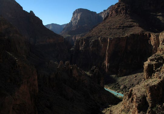 Looking down to the Little Colorado River from Salt Trail Canyon on the Navajo Nation several miles upstream from the confluence with the Colorado River in Grand Canyon National Park.