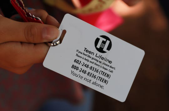Over 250,000 students across 211 schools in Arizona have Teen Lifeline's number on the back of their school IDs. The number can be called or texted at any time.