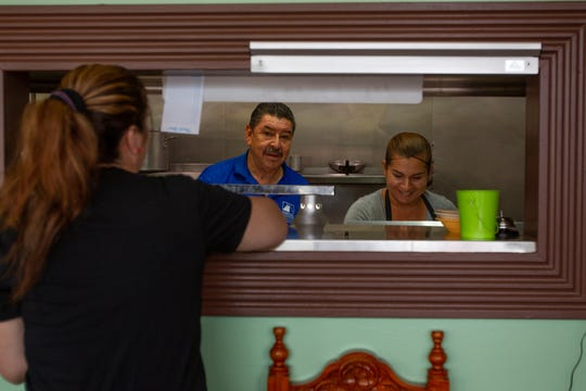Angel López brought his wife Nadia (right) and Angie Moreno (left), a longtime Restaurant Mexico server to work with him at Mr. Pancho Mexican Food. September 25, 2019.