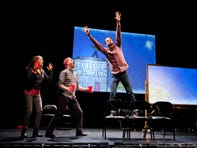 "Isabel Keating, Benjamin Evett and Jeffrey Binder in Merrimack Repertory Theatre's ""The White Chip."""