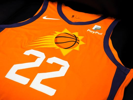 The Phoenix Suns' new Orange Statement Edition uniform for the 2019-20 NBA season.