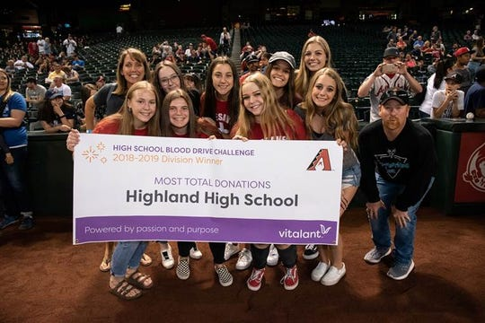 Highland High School had the most blood donations - 601- than any other high school last year.