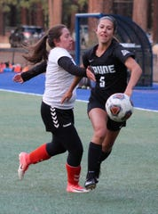 Bella Wakeling (5) is a sophomore on the Lake Tahoe CC women's soccer team, ranked No. 1 in the nation.