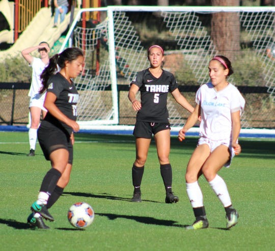 Angie Hurtado (left)  and Bella Wakeling (5) are sophomores on the Lake Tahoe CC women's soccer team, ranked No. 1 in the nation.