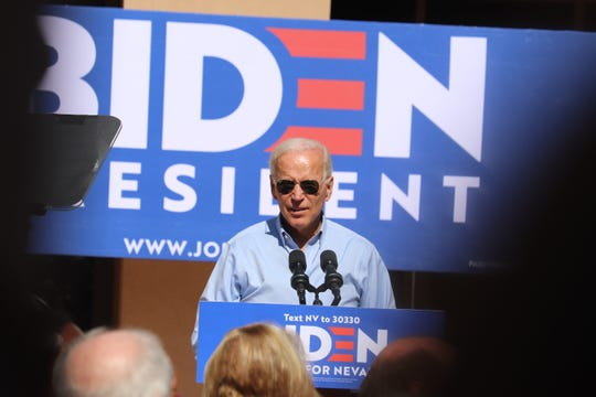 Democratic front runner in the 2020 election Joe Biden addressed 200 people in Las Vegas Friday afternoon.