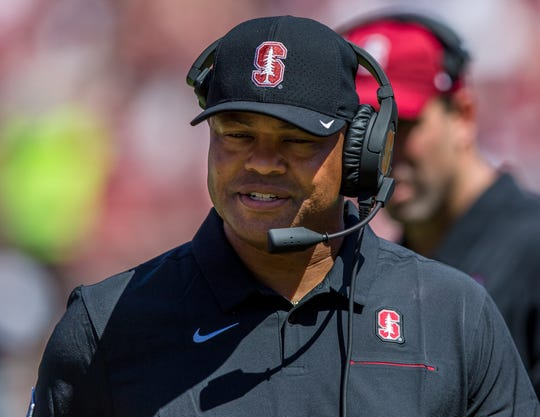 Aug 31, 2019; Stanford, CA, USA; Stanford Cardinal head coach David Shaw returns to the bench before the play against the Northwestern Wildcats in the second quarter at Stanford Stadium. Mandatory Credit: John Hefti-USA TODAY Sports